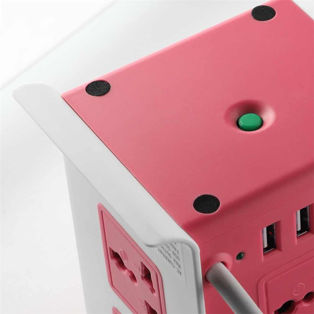 ABS + ognioodporny 8 wylot 4 USB ochrona przeciwprzepięciowa wieża pasek pionowy przewód zasilający gniazdo pulpitu US/UK/ue wtyczka JW-501