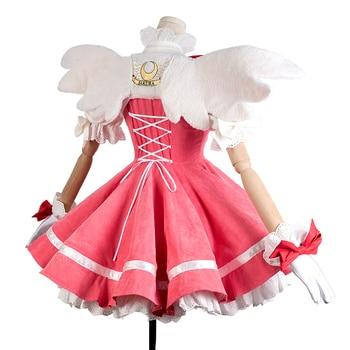 New Anime Cardcaptor Sakura Cosplay Costume Kinomoto Sakura Luxury Pink Dress Corduroy Carnival Halloween Costumes for Women 1