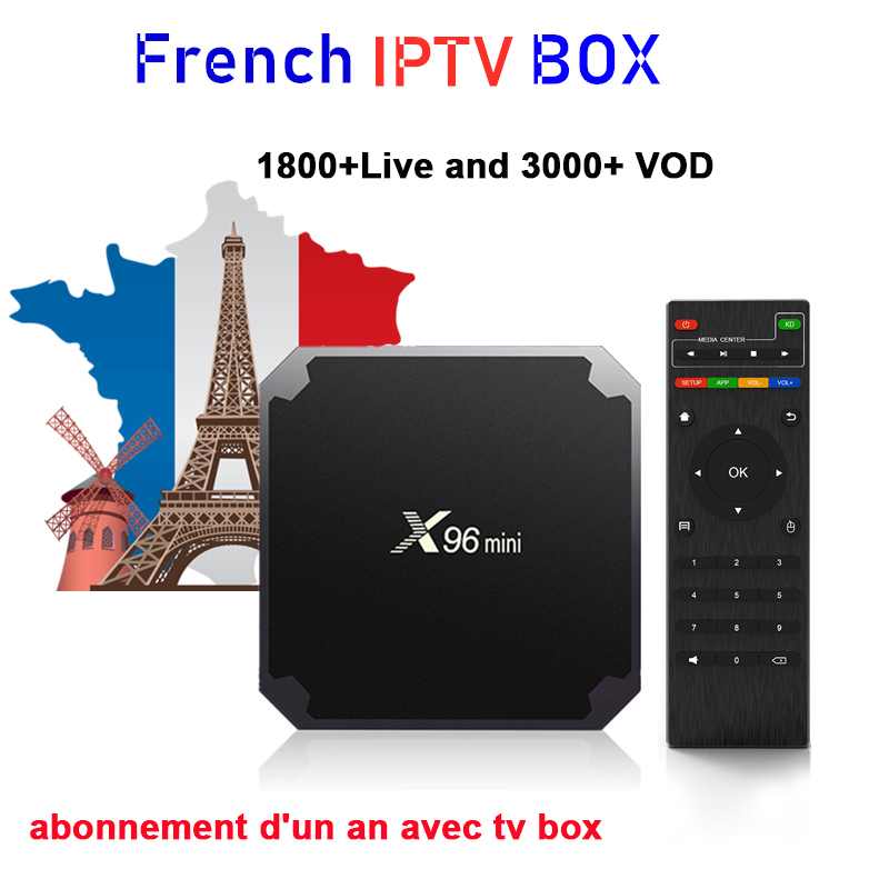 French IPTV Box X96 Mini TV BOX Android 9.0 2G 16G 1800+ NEOTV Pro Arabic Smart Set Top Tv Box With One Year IPTV Subscription