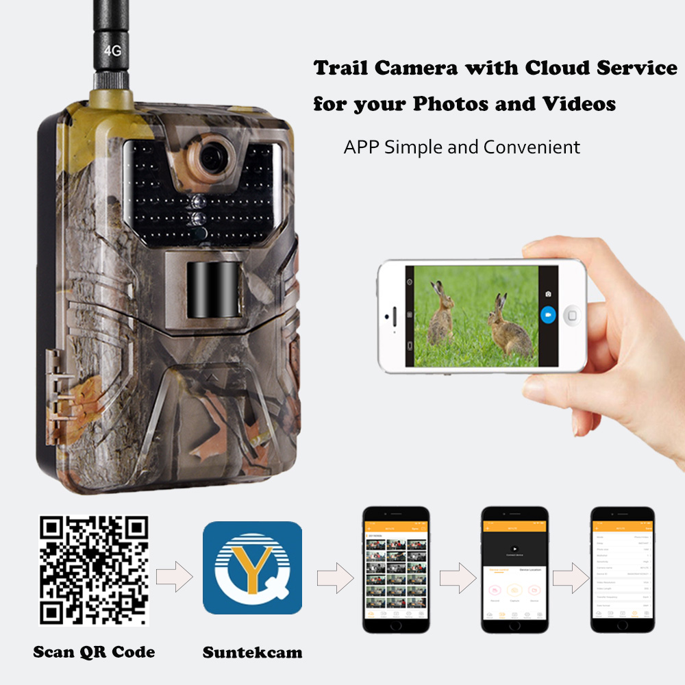 APP Trail Camera  Cloud Service  Wildlife Hunting Surveillance 4G Cellular Mobile Wireless Cameras HC900LTE 20MP 0.3S Trigger|Hunting Cameras| |  - title=
