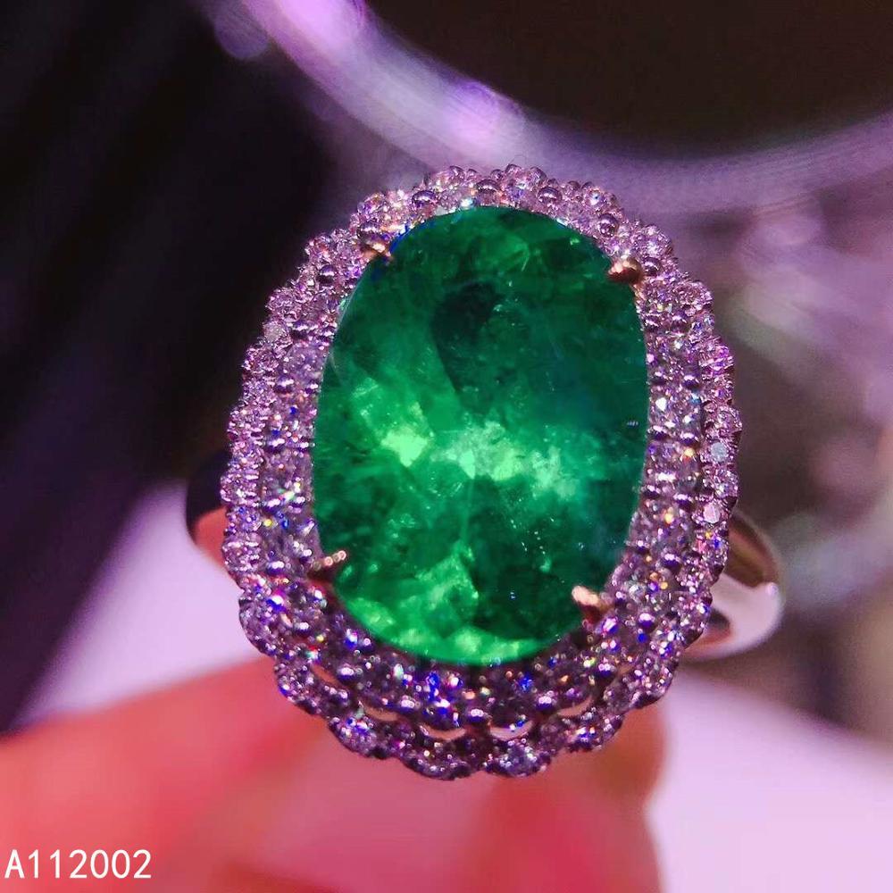 KJJEAXCMY fine bijoux naturel émeraude 925 en argent sterling nouveau réglable pierre gemme femmes anneau soutien test beau luxe