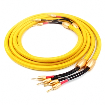 Par HIFI Accuphase un número OFC puro cobre audio cable de altavoz con 24K conector de banana chapado en oro amplificador amp