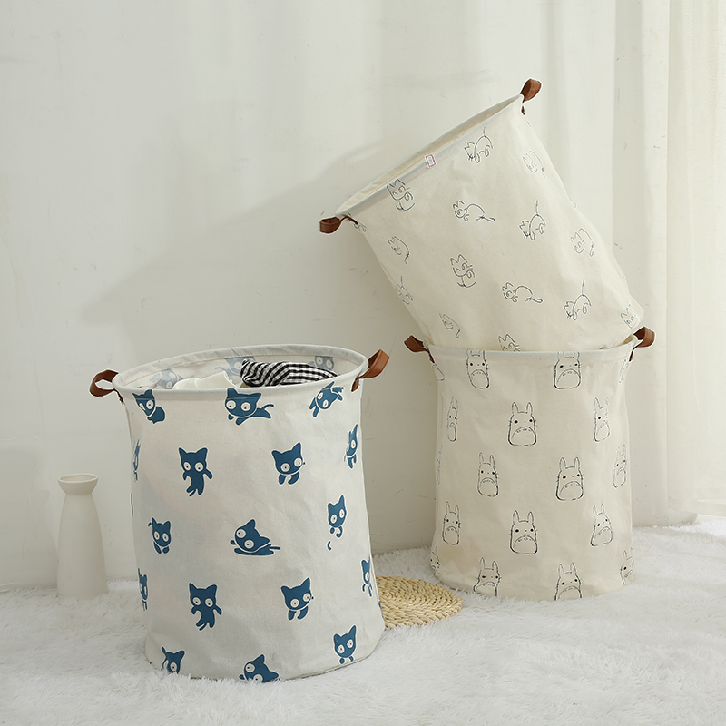Totoro Foldable Canvas Laundry Basket for Book, Toy, Clothes Collapsible Cubes Storage Bin, Large Hamper Laundry Basket 6