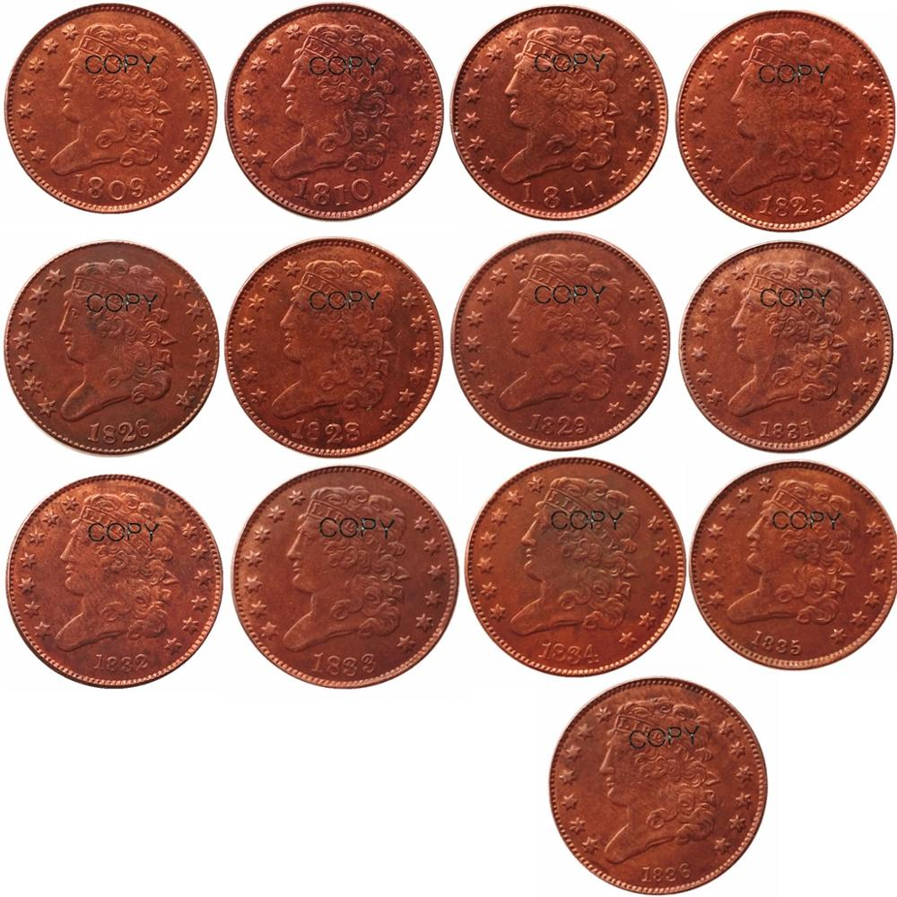 USA Classic Head Half Cent 1809-1836 Date Selection Copper Copy Coins image