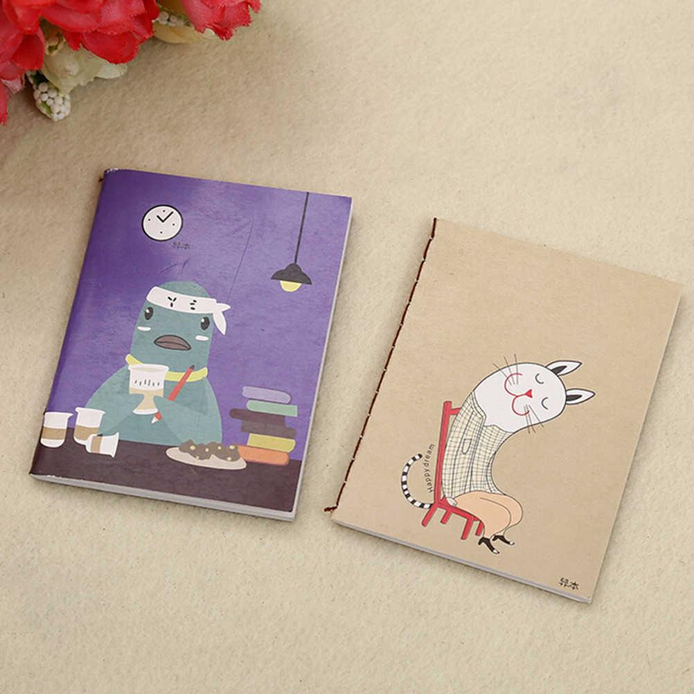 1 Pcs Mini Kartun Kosong Jurnal Diary Portable Saku Notebook Kantor Sekolah 6*8 Cm