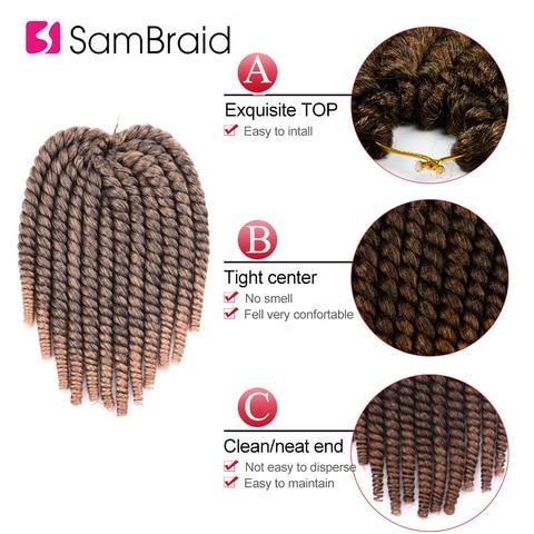 SAMBRAID Havana Mambo Twist Crochet Hair Braids 14 Inch 12 Strands/pack Synthetic Hair Ombre Braiding Hair Extensions 5 Colors Multan