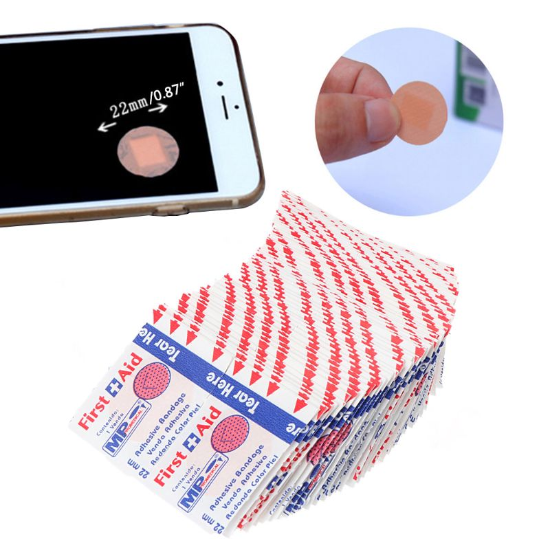 100Pcs Adhesive Round Band Aid Wound Plaster First-Aid Circle Ring Bandage 22mm