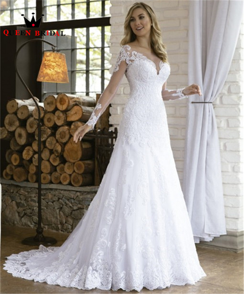 2020 New Design Wedding Dresses Mermaid Long Sleeve Tulle Lace Pearls Beading Sexy Formal Wedding Gowns Custom Made NO14