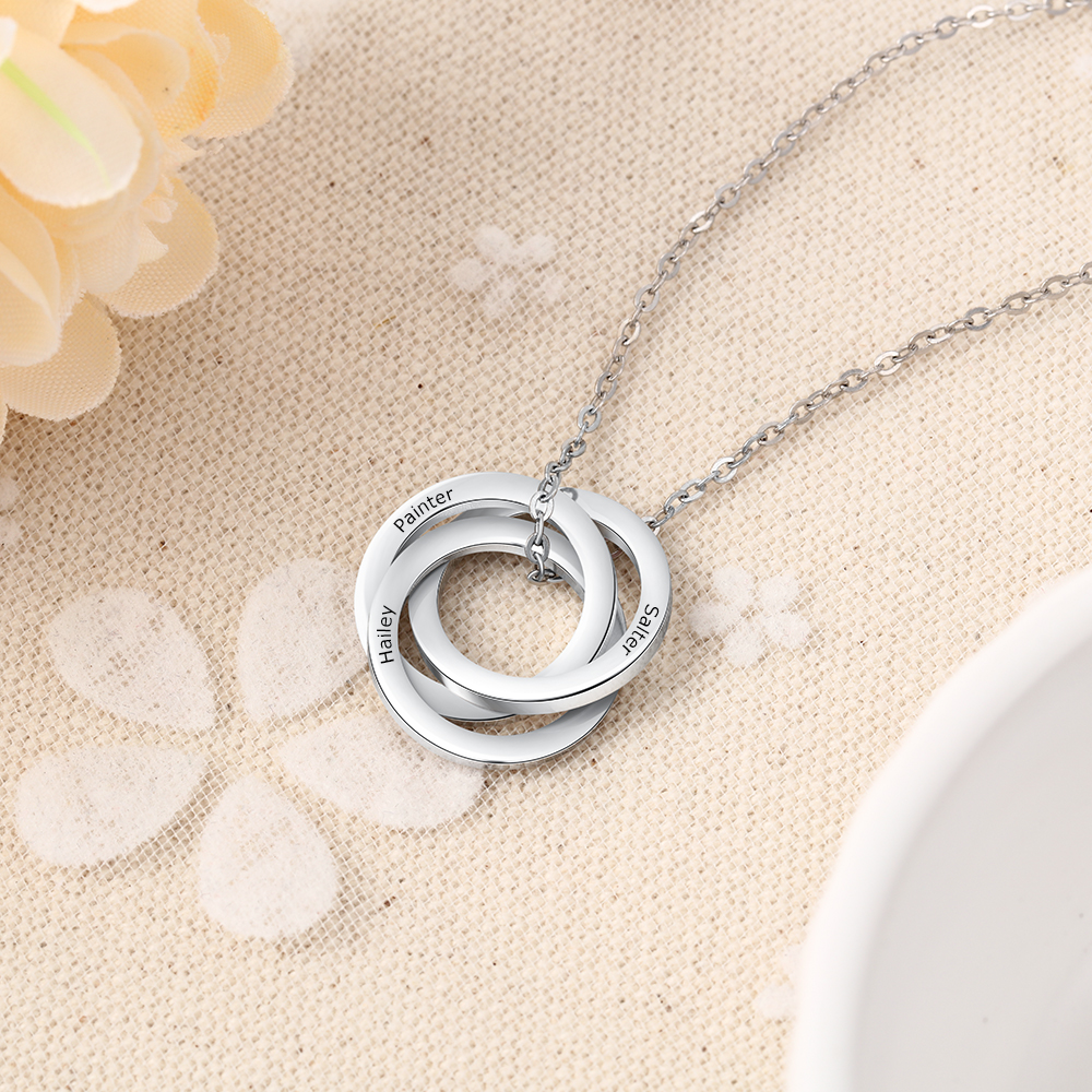 Engraved Name Custom 3 Intertwined Circles Pendant Necklace Russian Ring Stainless Steel Necklaces Women Personalized Gifts