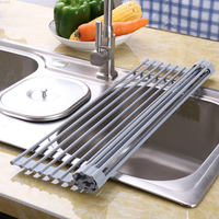 Silica gel folding asphalt rack kitchen setting sink bowl chopsticks bowl rack bowl and disc water filter rack