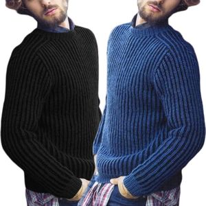 Image 3 - Masculino plus size inverno manga comprida pulôver camisola com nervuras de malha ajuste fino cor sólida em torno do pescoço casual streetwear topos M 3XL