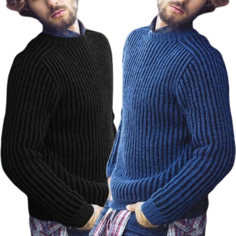 Image 3 - Mens Plus Size Winter Long Sleeve Pullover Sweater Ribbed Knitted Slim Fit Solid Color Round Neck Casual Streetwear Tops M 3XLPullovers   -