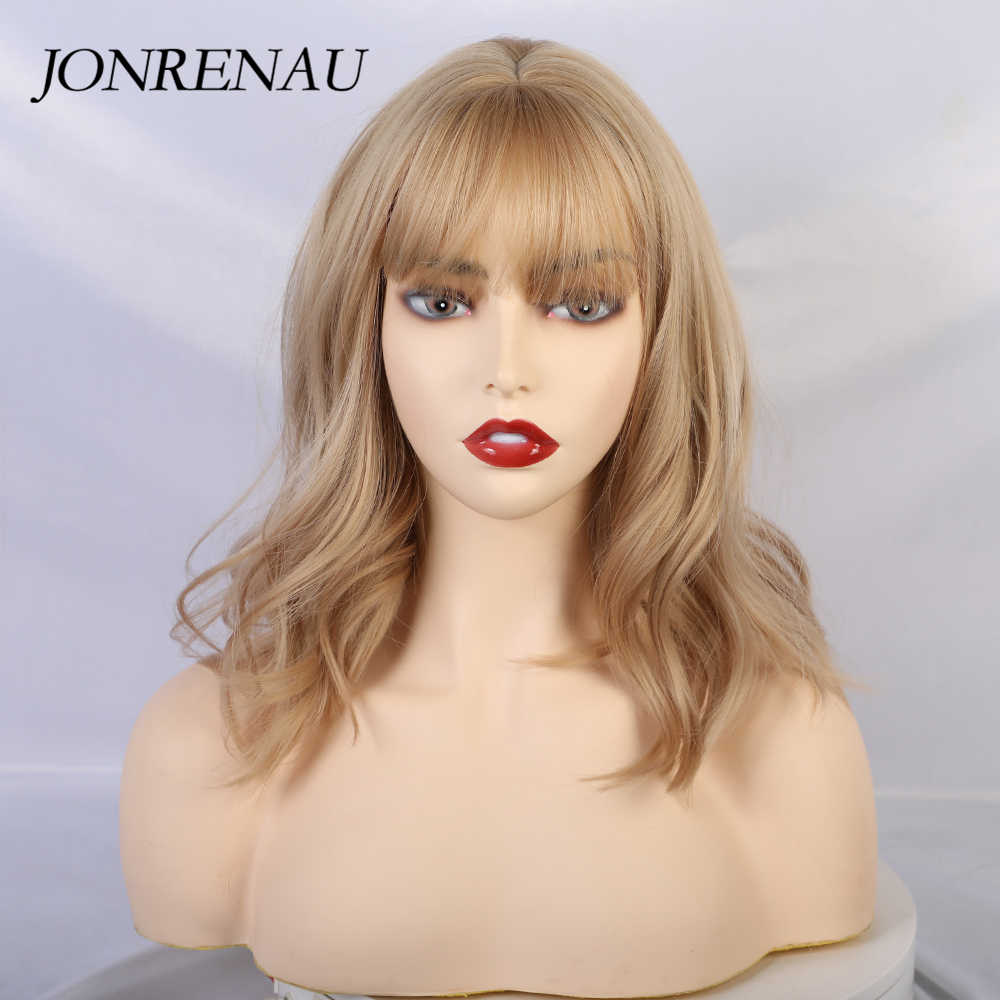 Jonrenau Lange Blonde Gemengde Kleur Haar Synthetische Pruiken Met Pony Schouder Lengte Voor Zwart/Wit Vrouwen Cosplay Party Pruik