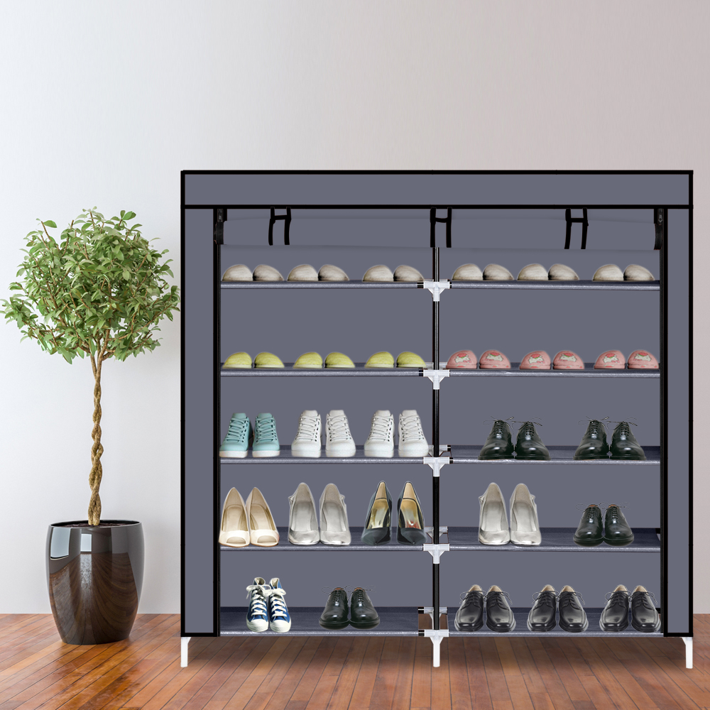 7 Tiers Portable Shoe Rack Closet Fabric Cover Shoe Storage Organizer Cabinet Gray Non-woven Fabrics Waterproof 112 X 28 X 110cm