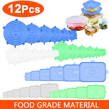Food-Cover Bowl Stretch-Lids Kitchen-Wrap Silicone-Caps Elastic Adjustable 12pcs