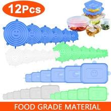 Couvercles réutilisables en Silicone pour aliments, 12 pièces, extensibles, élastiques, réglables, pour bol, micro-onde, pour la cuisine, pour garder la fraîcheur