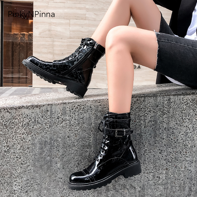women genuine leather cowhide ankle boots black buckle platform punk riding booties street Gothic sheepskin insole winter shoes in Ankle Boots from Shoes