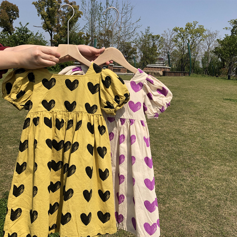 2020 Children Summer Baby Girl Lovely Cotton Clothes Wholesale Boutique Kids Sweet Love Heart Printed Dresses Casual Party Dress