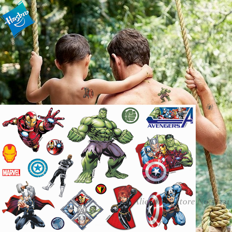Hasbro Hulk Spiderman Marvel  Avenger Children Cartoon Temporary Tattoo Sticker For Boys Cartoon Toys Waterproof Party Kids Gift