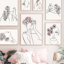 Wall Art Canvas Painting Abstract sexy line girl Rose Peony Flower Nordic Posters And Prints Wall Pictures For Living Room Decor abstract girl figure leaves flower boho wall art canvas painting nordic posters and prints wall pictures for living room decor