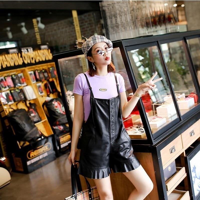 Womens Autumn Shorts Sheepskin Straps Short Pants Genuine Leather Casual High Quality Soft Female Suspender Trouser Streetwear