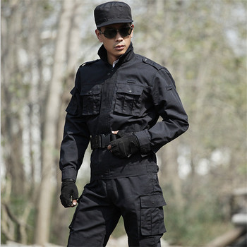 цена на 4XL Free Shipping Outside Tactical Army Military uniform combat jackets+ pants Tactical Black Coats Suits CS Military Clothing