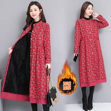 Winter Coat Jackets Outerwear Windbreaker Long-Cardigan Linen Female Vintage Plus-Size