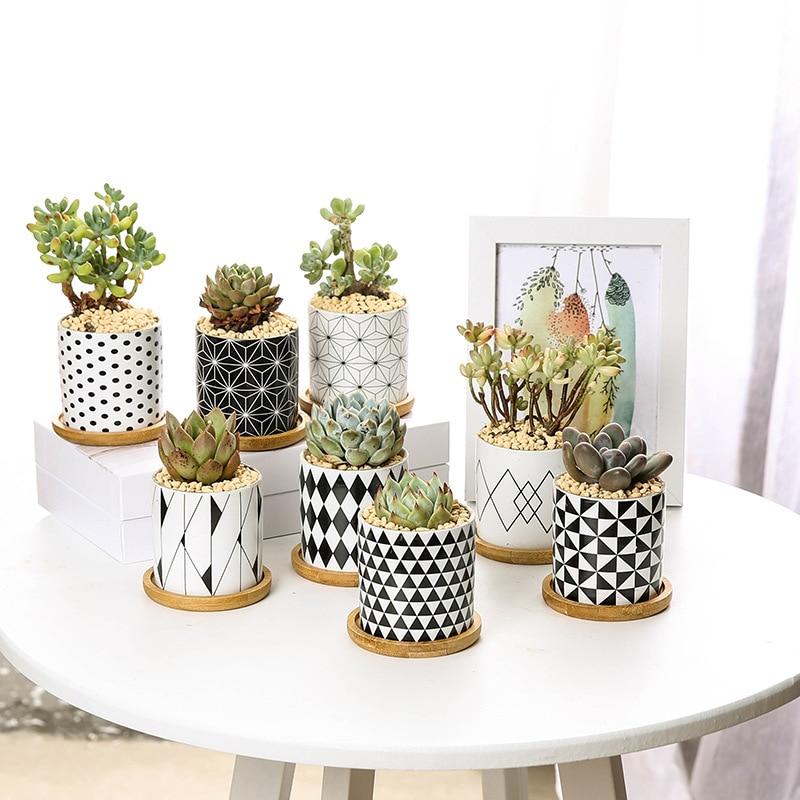Modern Geometric Pattern Ceramics Flower Pot  For Succulent Plant Nordic Style Planter Pot Home Garden Office Decoration