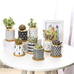 Moderno padrão geométrico cerâmica vaso de flores para planta suculenta estilo nórdico plantador pote casa jardim escritório decoração