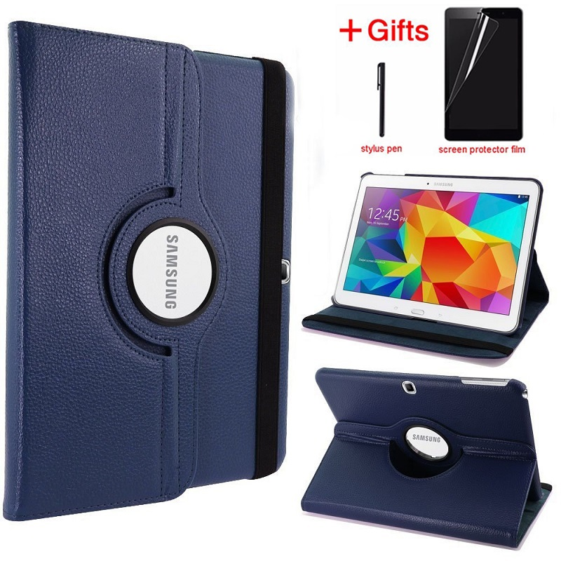 360 Degree Rotating Flip Cover Case For Samsung Galaxy Tab 4 10.1 SM-T530 M-T531 M-T535 Tablet Smart Stand Cover With Film+Pen