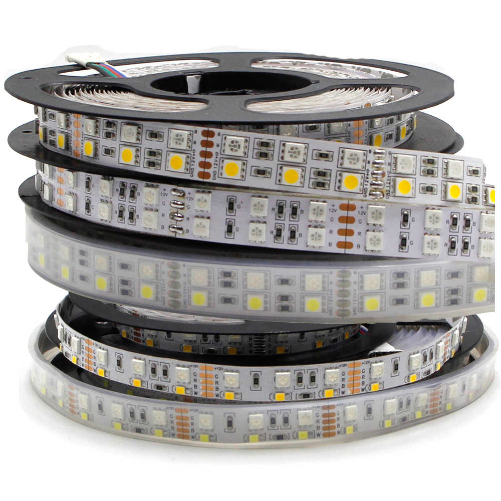 5 M Dua Baris 600 Lampu LED Strip 5050 RGB + 2835 Putih/Warm White 12V 120 LED /M LED Flexible Ribbon Tape Lampu RGBW