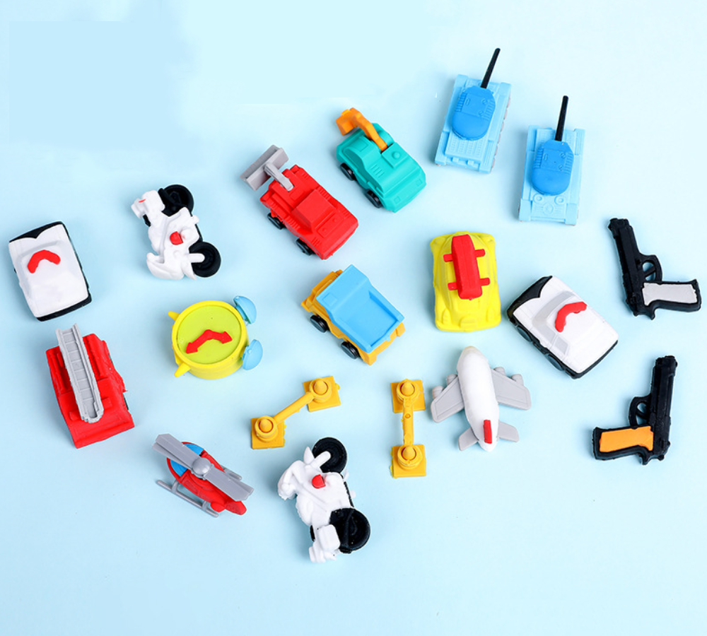 Eraser Set TPR Rubber Cute Motocycle Airplane Digger Crane Truck Pencil Erasers Stationery For Kids Gifts School Supplies Prize