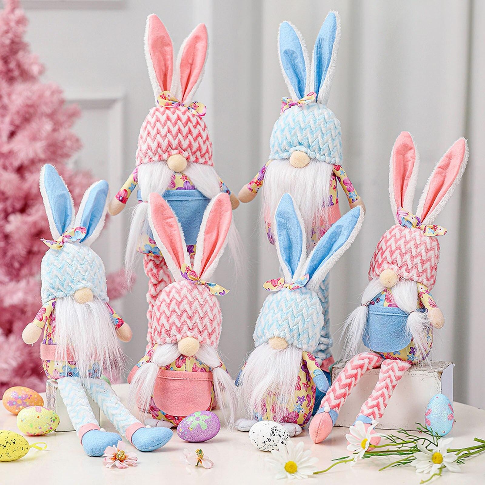 Muñecas de conejito decorativas Para el día de Pascua, decoración de escritorio Para dormitorio y sala de estar, Muñecas de juguete de pie Para Niñas