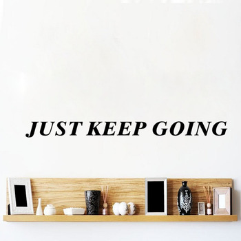 WJWY Just Keep Going Wall Sticker Fitness Motivation Quote Wall Decal Gym Wall Decoration Bedroom Art Murals image