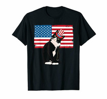 Black Tuxedo Cat 4Th Of July Hat Patriotic Gift Adults Kids T-Shirt 100% Cotton Birthday Gift Tee Shirt(China)