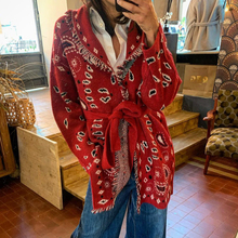 Cardigan Women Knitwear Fringed Cashmere-Bandana Winter Sweater Long-Sleeve Overcoat