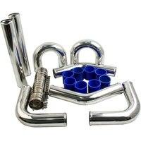 3 INCH 76mm Aluminum Universal Intercooler Turbo Piping pipe + hose kits 8pcs
