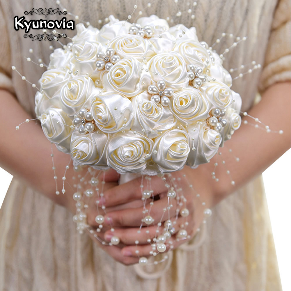 Beautiful In Stock Ivory Ribbon Flowers Stunning Pearls Beaded Bridal Bouquet Bridesmaid Wedding Bouquets Ramo De Novia BY53
