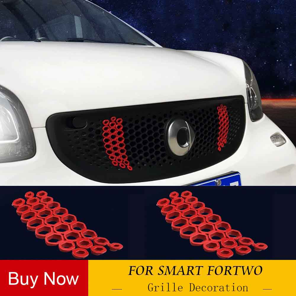 FOR New Mercedes Smart 453 Fortwo Forfour Grille Decoration Mesh Honeycomb Decorative Sticker Grill Modified Car Accessories