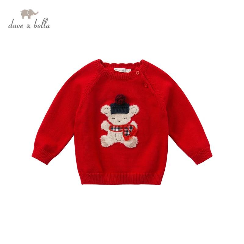 DBJ14590 dave bella Зимний милый Рождественский вязаный свитер с рисунком для маленьких девочек модные эксклюзивные топы для малышей|Свитера| | АлиЭкспресс
