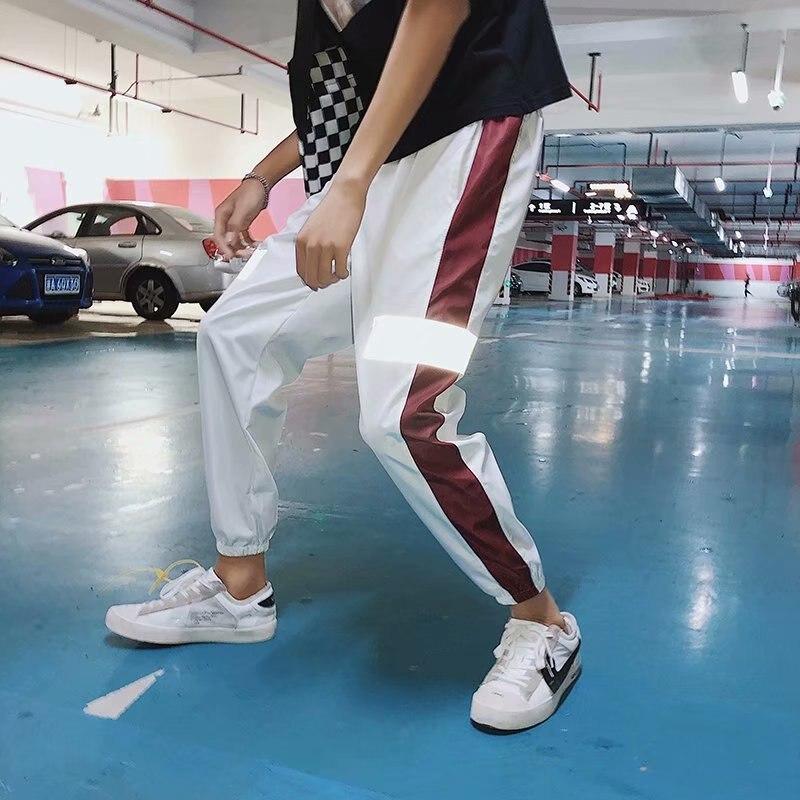 INS Super Fire Hip Hop Casual Pants Men's Retro Loose Fashion Man Reflective Pants Couples Men And Women Beam Leg Athletic Pants