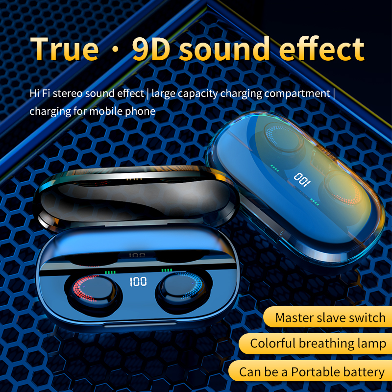Bluetooth 5 0 Earphones 3000mAh Charging Box TWS Wireless Headphone 9D Stereo Sports Waterproof Earbuds Headsets With Microphone