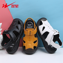 Double Star 2020 Summer Boys Toddler Sandals Casual Leather Flat Soft Beach Shoes