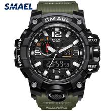 Marka SMAEL moda mężczyźni sport zegarki mężczyźni analogowy zegar kwarcowy zegarek wojskowy zegarek męski męska 1545 relogios masculino tanie tanio 22cm Podwójny Wyświetlacz QUARTZ 5Bar Klamra CN (pochodzenie) Z tworzywa sztucznego 18mm Akrylowe Kwarcowe Zegarki Na Rękę