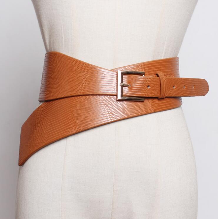 Women's Runway Fashion Pu Leather Cummerbunds Female Dress Corsets Waistband Belts Decoration Wide Belt R2414