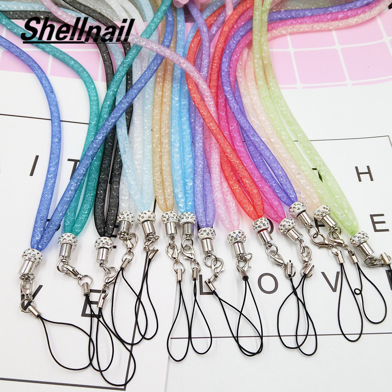 Shellnail Mobile Phone Straps Multi-function Hanging Neck Net Rope Long Lanyard For IPhones Keys USB Cell Phone Crystal Lanyard