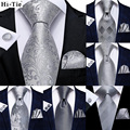 Hi-Tie Роскошный Серебряный новинка мужской галстук Gravata Шелковый Свадебный галстук для мужчин Hanky запонки набор модный дизайн бизнес дропшип...