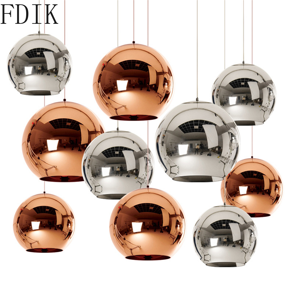 Modern Plating Pendant Lights Led Hanging Lamp 15cm/20cm/25cm Glass Ball Indoor Lighting Fixture For Living Room Kitchen Coffee