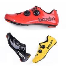 Booddun Ayers kolarstwo samoblokujące buty z włókna węglowego droga BOA tarcza termoplastyczna żółty czerwony czarny Ultra lekkie twarde wyścigi tanie tanio CN (pochodzenie) Wiskoza Dla dorosłych Oddychające Buty rowerowe Syntetyczny Średnie (b m) Hook loop Boodun Ayers
