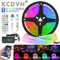 Tira de luces LED con Bluetooth RGB 5050/2835, cinta Flexible resistente al agua, bricolaje, diodo, 12V, decoración de fondo para ordenador, TV y dormitorio
